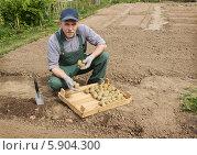Купить «Довольный мужчина сажает картофель», фото № 5904300, снято 10 мая 2014 г. (c) Александр Романов / Фотобанк Лори