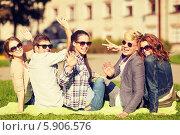 Купить «Группа студентов сидит на газоне. Все машут руками», фото № 5906576, снято 15 сентября 2013 г. (c) Syda Productions / Фотобанк Лори