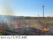 Купить «Горящая сухая трава весной. Московская область», фото № 5915448, снято 26 апреля 2014 г. (c) Игорь Долгов / Фотобанк Лори