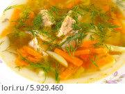 Купить «Суп из консервированной горбуши.Крупный план.», эксклюзивное фото № 5929460, снято 10 мая 2014 г. (c) Blekcat / Фотобанк Лори