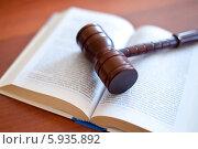 Купить «Судейский молоток на раскрытом Уголовном кодексе», эксклюзивное фото № 5935892, снято 23 мая 2014 г. (c) Александр Тарасенков / Фотобанк Лори