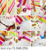 Купить «Коллаж из праздничных кексов со свечами, глазурью и декоративной посыпкой», фото № 5948056, снято 20 января 2010 г. (c) SummeRain / Фотобанк Лори
