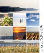 Купить «Коллаж на тему   летнего  отдыха на пляже», фото № 5948076, снято 19 октября 2018 г. (c) SummeRain / Фотобанк Лори