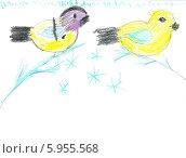 """Детский рисунок """"Зимние птицы"""" Стоковое фото, фотограф Куликова Вероника / Фотобанк Лори"""