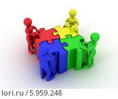Купить «Люди сидят за столом в виде пазлов. 3D», иллюстрация № 5959248 (c) Maksym Yemelyanov / Фотобанк Лори