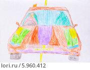 Купить «Детский рисунок. Дорожное движение», фото № 5960412, снято 21 марта 2014 г. (c) Анна Кудрявцева / Фотобанк Лори
