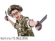 Купить «Забавный солдат с ножами, изолированно на белом фоне», фото № 5962856, снято 10 января 2014 г. (c) Elnur / Фотобанк Лори
