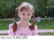 Купить «Портрет девочки с косичками в парке», эксклюзивное фото № 5966288, снято 22 мая 2014 г. (c) Илюхина Наталья / Фотобанк Лори