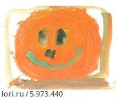 Купить «Детский рисунок. Веселая тыква. Гуашь», эксклюзивное фото № 5973440, снято 19 декабря 2018 г. (c) Валерия Попова / Фотобанк Лори