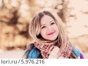 Купить «Young woman winter portrait», фото № 5976216, снято 1 февраля 2014 г. (c) Майя Крученкова / Фотобанк Лори