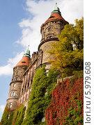 Купить «Замок Ксёнж в Польше, западный фасад с двумя башнями», фото № 5979608, снято 18 сентября 2010 г. (c) Солодовникова Елена / Фотобанк Лори