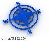 Купить «Синяя компасная роза на белом фоне», иллюстрация № 5982236 (c) Maksym Yemelyanov / Фотобанк Лори