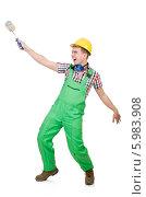 Купить «Забавный молодой мужчина в строительной одежде с малярным валиком», фото № 5983908, снято 1 февраля 2014 г. (c) Elnur / Фотобанк Лори