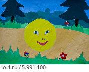 Колобок, детский, рисунок, иллюстрация. Стоковая иллюстрация, иллюстратор Кухаренко Ефим / Фотобанк Лори