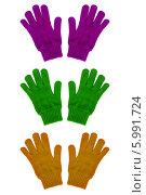 Перчатки трикотажные на белом фоне. Стоковое фото, фотограф Сергей Видинеев / Фотобанк Лори