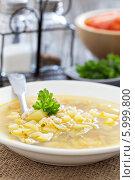 Купить «Рассольник: суп с солеными огурцами и перловкой», фото № 5999800, снято 1 апреля 2014 г. (c) Елена Веселова / Фотобанк Лори