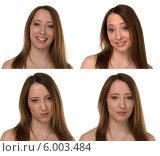 Портрет молодой женщины с различными эмоциями, белый фон. Стоковое фото, фотограф Natalia Bogdanova / Фотобанк Лори