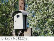 Купить «Трехфазный электросчетчик на столбе в саду», фото № 6012248, снято 13 мая 2014 г. (c) Елена Козенева / Фотобанк Лори
