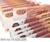 Купить «Купюры достоинством пять тысяч рублей на белом фоне», иллюстрация № 6020200 (c) Сергей Куров / Фотобанк Лори
