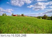 Ферма красного цвета между зеленым полем и голубым небом с облаками (2014 год). Стоковое фото, фотограф Борис Смирин / Фотобанк Лори