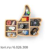 Купить «Социальные медиа концепции. Большой палец вверх и иконки приложений», иллюстрация № 6026308 (c) Maksym Yemelyanov / Фотобанк Лори
