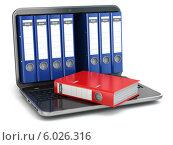Купить «Хранение данных. Портативный компьютер с офисными папками», иллюстрация № 6026316 (c) Maksym Yemelyanov / Фотобанк Лори