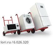 Купить «Доставка бытовой техники. Холодильник, стиральная машина и микроволновка на тележках», иллюстрация № 6026320 (c) Maksym Yemelyanov / Фотобанк Лори