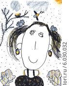 Купить «Детский карандашный рисунок, Девочка», иллюстрация № 6030032 (c) Алексей Кузнецов / Фотобанк Лори