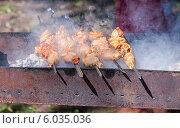 Купить «Аппетитный сочный шашлык из курицы жарится на мангале в солнечный день», фото № 6035036, снято 25 августа 2019 г. (c) FotograFF / Фотобанк Лори