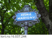 Купить «Улчиный знак Avenue Marigny», фото № 6037244, снято 26 мая 2013 г. (c) Татьяна Кахилл / Фотобанк Лори