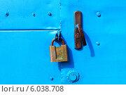 Купить «Крашеные ворота старого гаража», фото № 6038708, снято 6 июня 2014 г. (c) yeti / Фотобанк Лори
