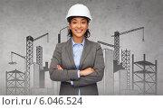 Купить «businesswoman in white helmet with crossed arms», фото № 6046524, снято 18 января 2020 г. (c) Syda Productions / Фотобанк Лори