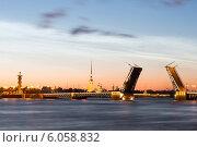 Разведенный Дворцовый мост в Санкт-Петербурге в белую ночь (2014 год). Редакционное фото, фотограф Андрей Разумов / Фотобанк Лори