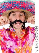 Купить «Funny mexican with sombrero hat», фото № 6073084, снято 28 ноября 2013 г. (c) Elnur / Фотобанк Лори