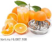 Купить «Апельсиновый сок, апельсины и соковыжималка на белом фоне», фото № 6087108, снято 10 апреля 2014 г. (c) Ирина Денисова / Фотобанк Лори