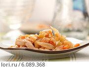 Купить «Тушеная капуста с курицей, луком и морковью», фото № 6089368, снято 4 июля 2014 г. (c) Александр Лычагин / Фотобанк Лори