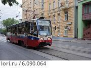 Купить «Москва. Трамвай едет по улице Образцова», фото № 6090064, снято 5 июля 2014 г. (c) Victoria Demidova / Фотобанк Лори