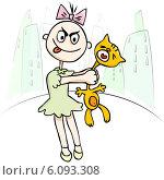 Купить «Иллюстрация. Злая девочка мучает кошку», иллюстрация № 6093308 (c) Татьяна Гришина / Фотобанк Лори