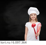 Купить «smiling girl in cook hat with ladle and whisk», фото № 6097364, снято 9 апреля 2014 г. (c) Syda Productions / Фотобанк Лори