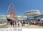 Барк Седов в порту Новороссийска (2014 год). Редакционное фото, фотограф Павел Бодров / Фотобанк Лори