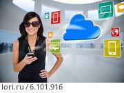 Купить «Glamorous brunette using smartphone with cloud and icons», фото № 6101916, снято 21 августа 2018 г. (c) Wavebreak Media / Фотобанк Лори