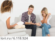 Купить «Man speaking to therapist at couples therapy while woman is crying», фото № 6118924, снято 4 ноября 2013 г. (c) Wavebreak Media / Фотобанк Лори