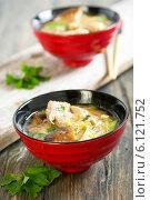 Купить «Мисо суп с утиной грудкой», фото № 6121752, снято 7 июля 2014 г. (c) Марина Сапрунова / Фотобанк Лори