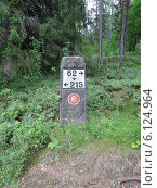 Купить «Старый километровый  столб на дорогах Финляндии», эксклюзивное фото № 6124964, снято 21 июля 2013 г. (c) Сергей Шустов / Фотобанк Лори