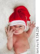 Младенец в шапке Санты. Стоковое фото, фотограф Анна Алексеенко / Фотобанк Лори