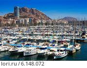 Купить «Harbour with yachts and Castle. Alicante», фото № 6148072, снято 14 апреля 2014 г. (c) Яков Филимонов / Фотобанк Лори