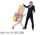 Купить «Man shopping with supermarket basket cart isolated on white», фото № 6181208, снято 7 июня 2014 г. (c) Elnur / Фотобанк Лори