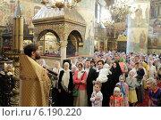 Купить «Священник говорит проповедь в Успенском соборе Московского Кремля», эксклюзивное фото № 6190220, снято 2 июля 2014 г. (c) Дмитрий Неумоин / Фотобанк Лори