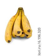 Купить «Гроздь бананов с темными точками на кожуре на белом фоне», фото № 6196320, снято 20 июля 2014 г. (c) Владимир Ходатаев / Фотобанк Лори