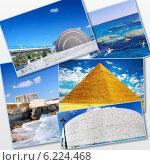 Купить «Коллаж из фотографий Египта на белом фоне», фото № 6224468, снято 23 июля 2019 г. (c) Vitas / Фотобанк Лори